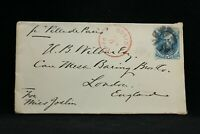 Massachusetts: Boston 1877 (circa) 5c Taylor Cover to London per Ville de Paris