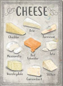 Cheese Types small steel sign 200mm x 150mm (og)