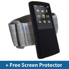 NERO Pelle Custodia + Fascia da Braccio per Sony Walkman NWZ-E453 NWZ-E455 da 4GB 8GB in silicone