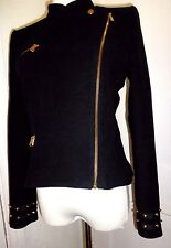 Zara Trafaluc High Neck Black Gold-Studded Military Moto Motorcycle Jacket M