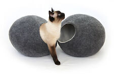 Cat cave bed,house,from 100% wool for pet, handmade Color Dark Grey Size L.