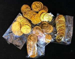 Plastic GOLD PIRATE COINS Treasure Loot Goody Kids Toys Party Bag Pinata Fillers