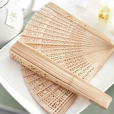 Chinese 8Inch Fold Bamboo Wood Hand Fan Carved Hollow Pocket Dance Bridal Party