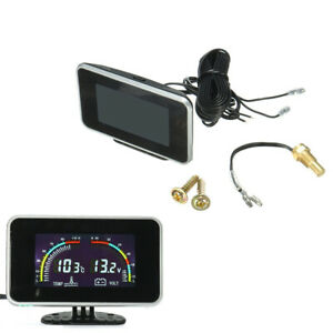 Car 2 in 1 LCD Digital Display Water Temp Gauge Voltmeter With Flashing Alarm