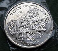 1997 Isle of Man Coin 1 Crown Elizabeth II Birth of Christ KM# 799