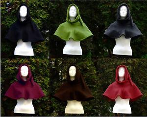 Damen Herren Gewandung Mittelalter Reenactment Gugel 100% Wolle versch. Farben