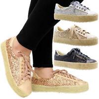 Ladies Women Lace Up Glitter Flat Espadrilles Sneakers Trainers Pumps Shoes Size