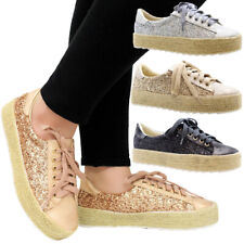 Ladies Women Lace Up Glitter Flat Espadrilles Sneakers Trainers Pumps Shoes Size
