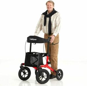"OasisSpace Pneumatic Rollator Walker with Seat 12"" Wheels Aluminum Rollator"