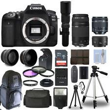 Canon EOS 90D DSLR Camera + 6 Lens 18-55 STM, 75-300, 50, 500 + 32GB PRO KIT!