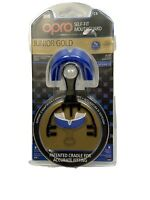 OPRO Junior Gold Level Self-Fit Antimicrobial Mouthguard Blue New Protector
