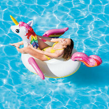"79"" Giant Inflatable Unicorn Water Float Raft Ride On Pool Lounger Beach Toy"