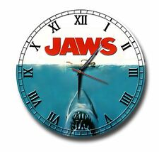 JAWS 250MM DIAMETER CLOCK,FILM,GREAT WHITE SHARK,CLASSIC