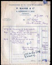 """BOURGES (18) CHAUDRONNERIE / APPAREILS de DISTILLATION """"P. BLAVIER"""" Voyagée 1949"""