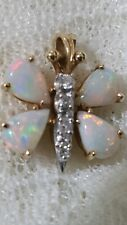 1.50 CT AUSTRALIAN OPAL DIAMOND BUTTERFLY PENDANT 14K YELLOW GOLD NATURAL VIVID