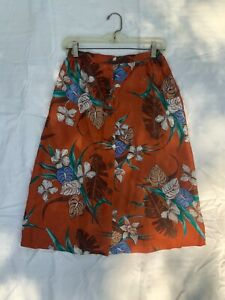 Vintage 1970's Floral skirt Small Hawaiian button Front Midi
