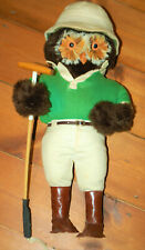 A rare vintage owl bird polo player soft toy figure by Abercrombie and Fitch