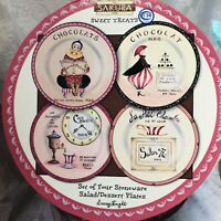 "Stoneware Snack Dessert Plates Gracey Knight 8"" Sakura Sweet Treats Set of 4 NEW"