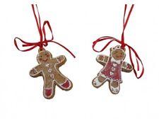 Gisela Graham Gingerbread Boy and Girl Christmas Tree Decorations - Traditional