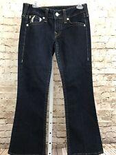 True Religion Womens Dark Wash Jeans Sz 30 World Tour Silver Graphics