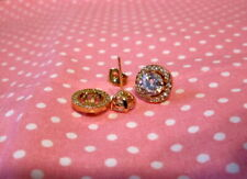 Gold CZ Stud Earrings Convertible-Cubic Zirconia-HIGH SPARKLE!!!!