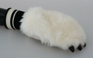 DOLCE & GABBANA Gloves Polyester Cream Paw Fur Knitted Wrist One Size RRP $350