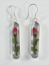 925 sterling silver long rose dangle earrings with real flowers
