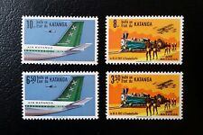 Congo, Katanga, 1960, 1961, Airmail, MNH, Full Set of 4 stamps, Planes, Trains