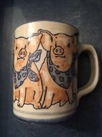 Louisville Stoneware Pottery 3 Pigs / PolkaDot Bandanas Coffee Tea Mug Cup - USA