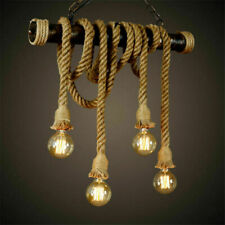 Vintage Industrial Pendant Lamp Edison Hemp Rope Ceiling Light Base Decor KHG96