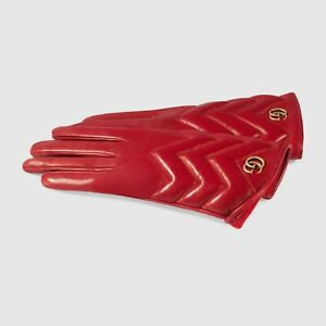 100% AUTHENTIC NEW WOMEN GUCCI MARMONT MATELASSE RED LEATHER GLOVES US 7.5