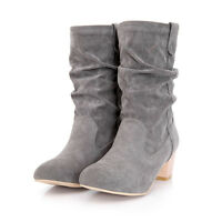 Womens Ladies Faux Suede Block Heel Winter Ankle Boots Slouch Pleated Shoes VI55