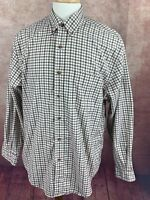 Eddie Bauer Long Sleeve Button Down Shirt  100% Cotton Blue Red Check Men's Med.