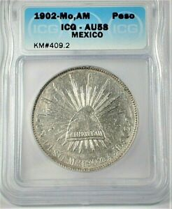 1902-Mo,AM Mexico Silver Peso ICG AU58 Condition KM#409.2  (346)