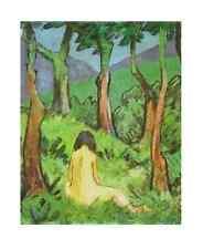 Otto Mueller Sitzender Akt unter Bäumen Poster Kunstdruck Bild 58,5x48cm