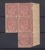 Mauritius KGV 1921 20c Margin Block Of 5 SG221 MNH J7234