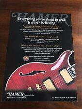 2000 VINTAGE 8X11 PRINT Ad FOR TOM DUMONT OF NO DOUBT CHOOSES HAMER GUITARS