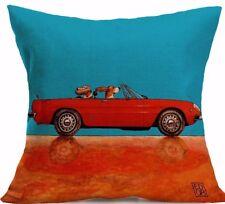 DACHSHUND DOG Drives RED Ferrari CAR Bright Colour LINEN-COTTON CUSHION COVER GB