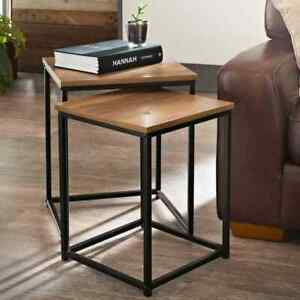 Stylish Wooden Top And Metal Frame Tromso Contemporary Nest Of Two Table Square