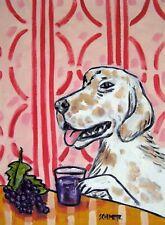 English Setter dog art gift poster modern folk 4x6 grape juice Glossy Print