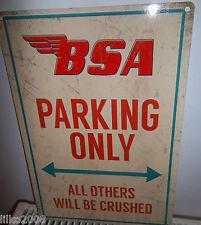 """BSA PARKING ONLY  RETRO 12""""X 8"""" METAL SIGN 30X20cm, GOLD STAR/ROCKET/BANTAM/A10"""