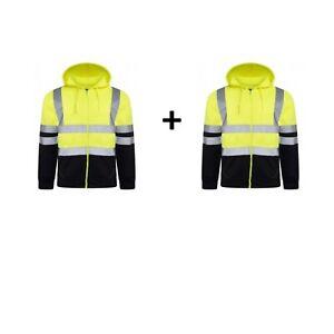 2 X Hi Viz PREMIUM Hoodies Fleece Zipper Tops High Vis Yellow Orange Two Tone