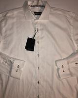 BUGATCHI Shaped Fit Sport Shirt L/S Button Down White Pattern NEW Mens XL $149