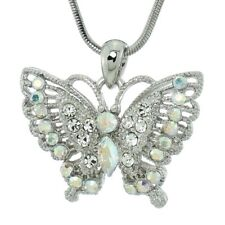 """BUTTERFLY Necklace Made With Swarovski Crystal AB Wings Pendant 18"""" Chain Gift"""