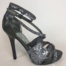 Sz 7.5 - Guess Women's Metallic Silver Glitter High Heels Strap Ankles Stiletto