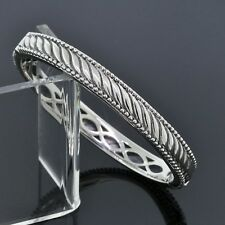 Judith Ripka 925 Sterling Silver 8mm Hinged Cuff Bangle Bracelet