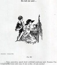 DENTI ARTIFICIALI:SIGNORA ALLO SPECCHIO.Vignetta.Dentista.Dentist.Zahnarzt.1929