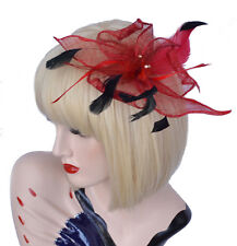 Melbourne Cup Head Piece Race Party Feather Fascinator Brooch Hair Clip Dark Red