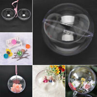 10 Ball Clear Plastic Christmas Craft Baubles Fillable Xmas Tree Decor Gift