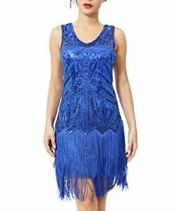 Geplaimir 20er Jahre Kleider Damen Flapper Dress Charleston Kleider Ausschnitt